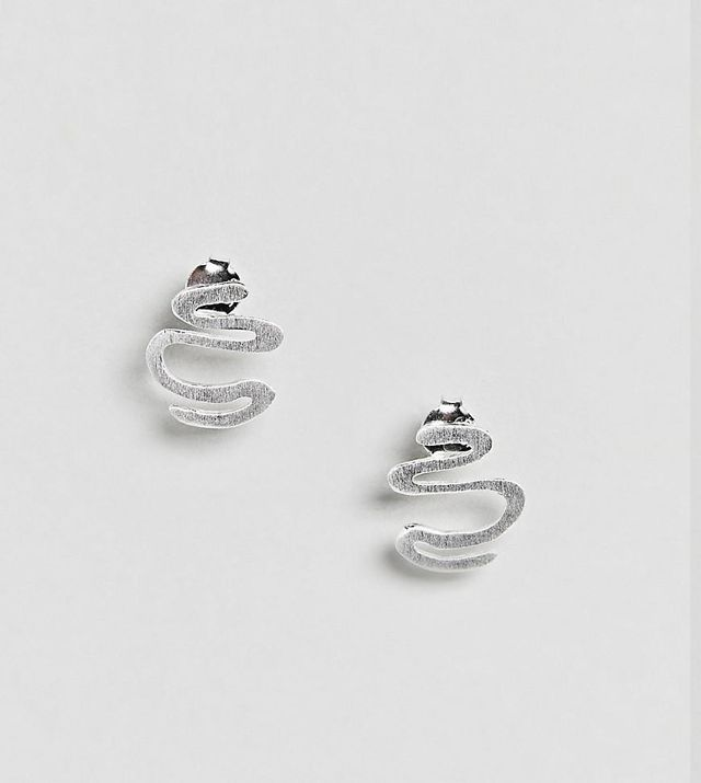 Sterling Silver Textured Squiggle Earrings