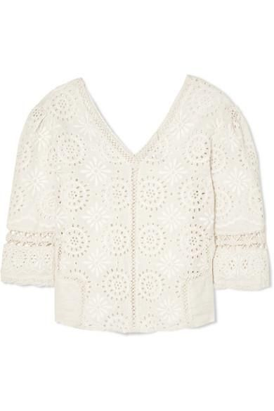 Solstice Crochet-trimmed Broderie Anglaise Cotton Top