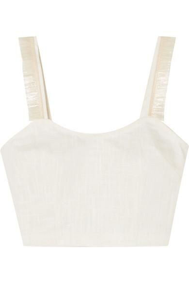 Coco Cropped Raffia-trimmed Linen-blend Top