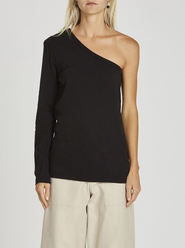 Bassike One Shoulder Long Sleeve T Shirt