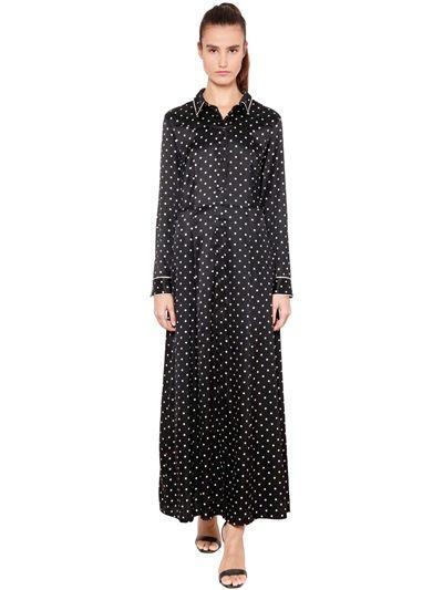 Ganni Polka Dot Silk Satin Skirt Dress