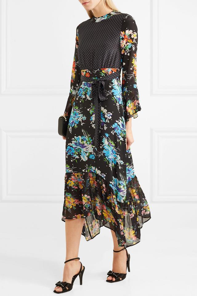 RIXO London Chrissy Patchwork Midi Dress