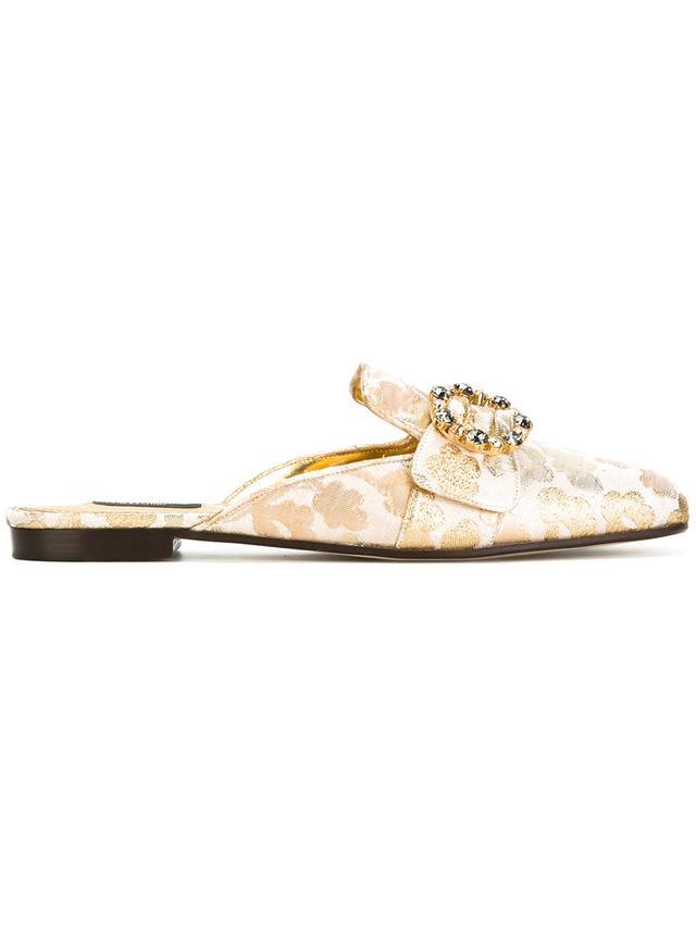 Dolce & Gabbana Brocade Embellished Mules