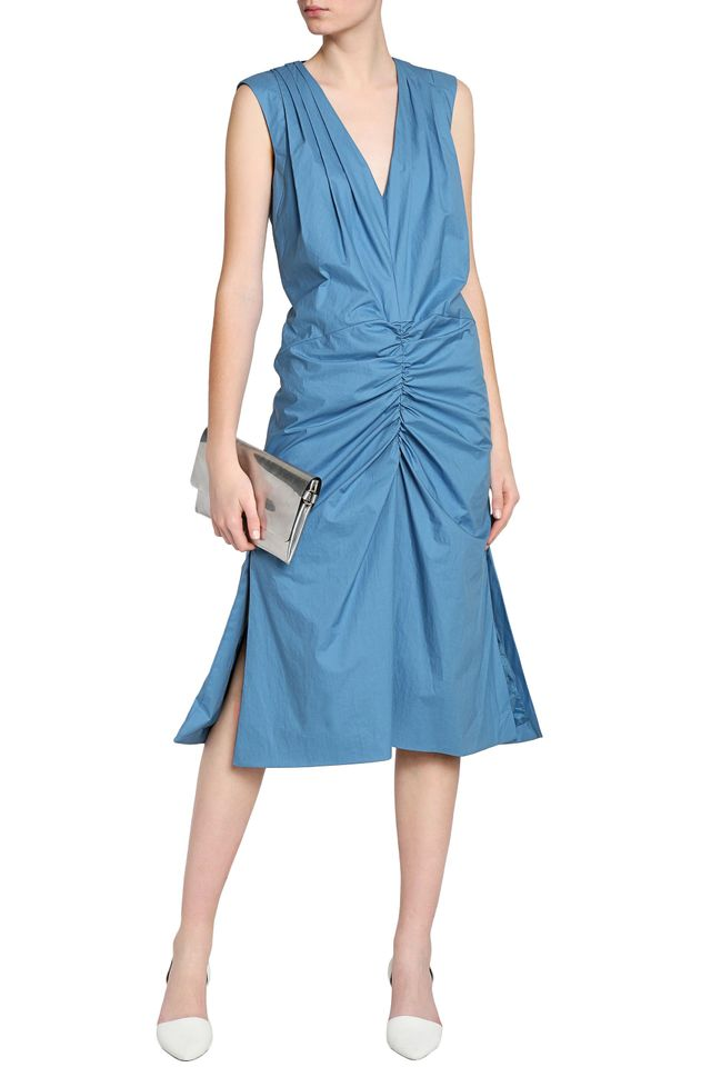 Marni Fluted Ruched Cotton-Poplin Dress