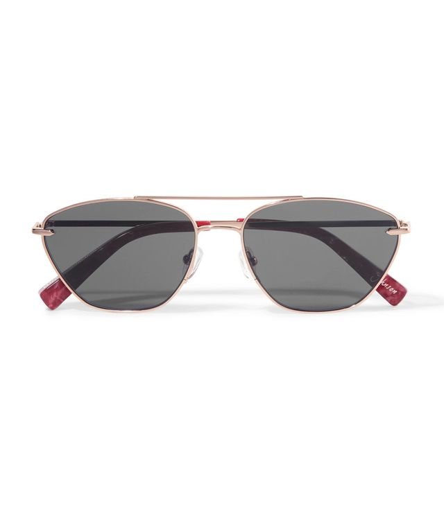 Johnson Aviator-style Rose Gold-tone Sunglasses