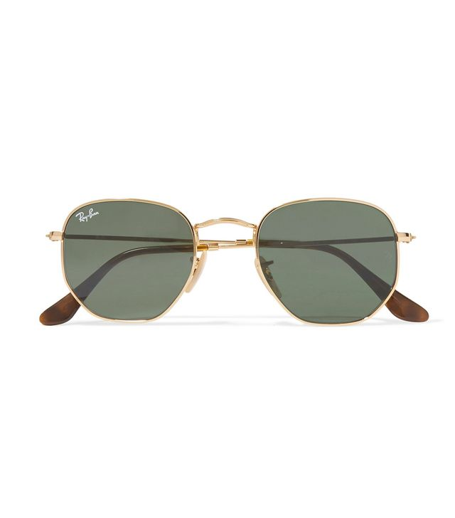 Hexagon-frame Gold-tone Sunglasses