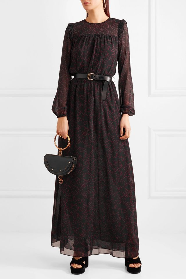Michael Michael Kors Belted Printed Georgette and Chiffon Maxi Dress