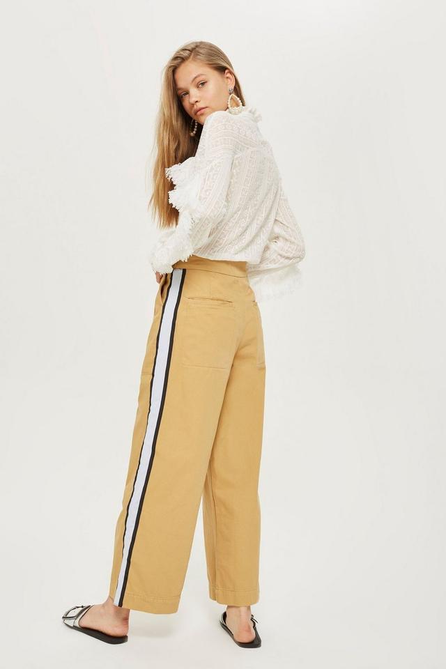 Topshop Side Stripe Wide Leg Chino Trousers