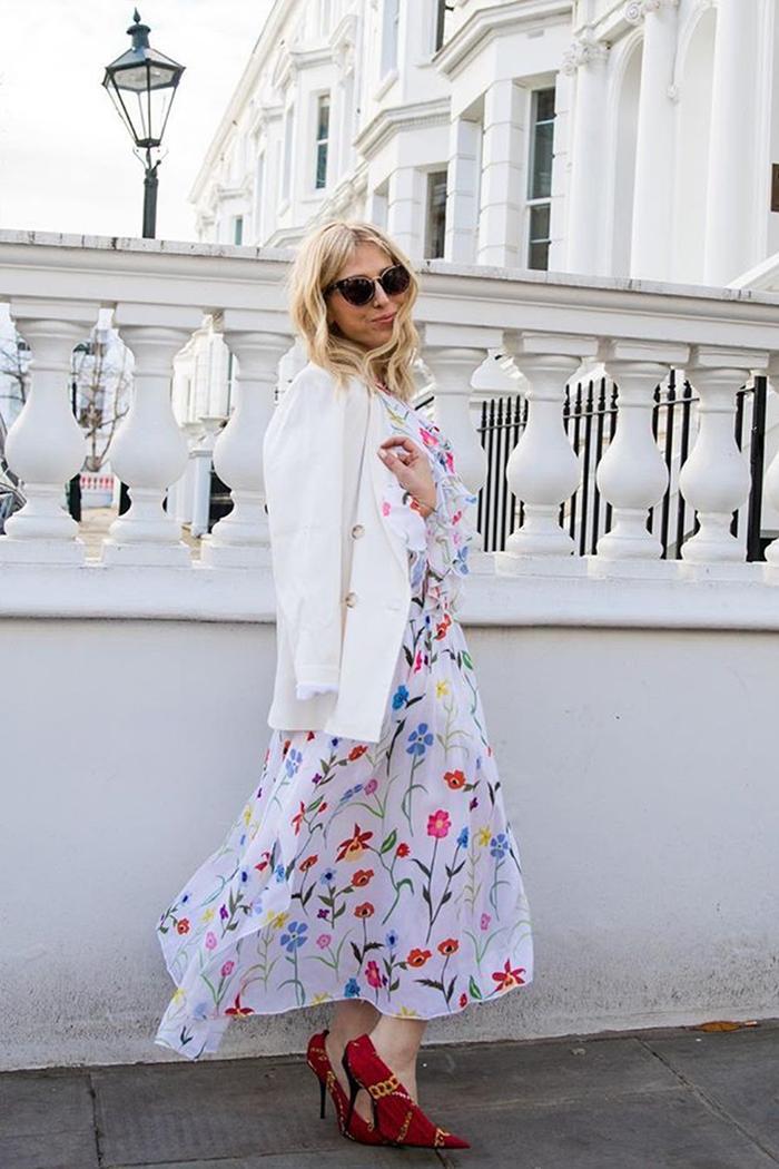 Olivia Rubin: Olivia Rubin wearing a floral maxi dress