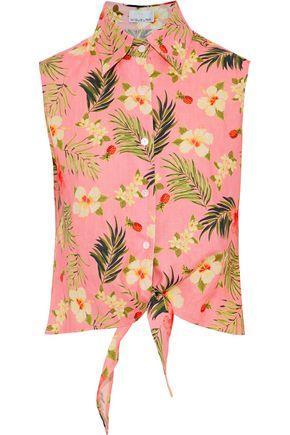 Tie-front floral top