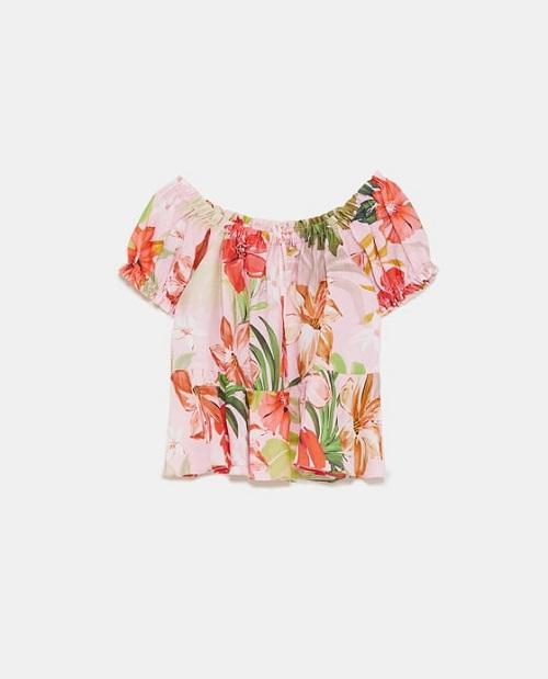 Floral Linen Print Top