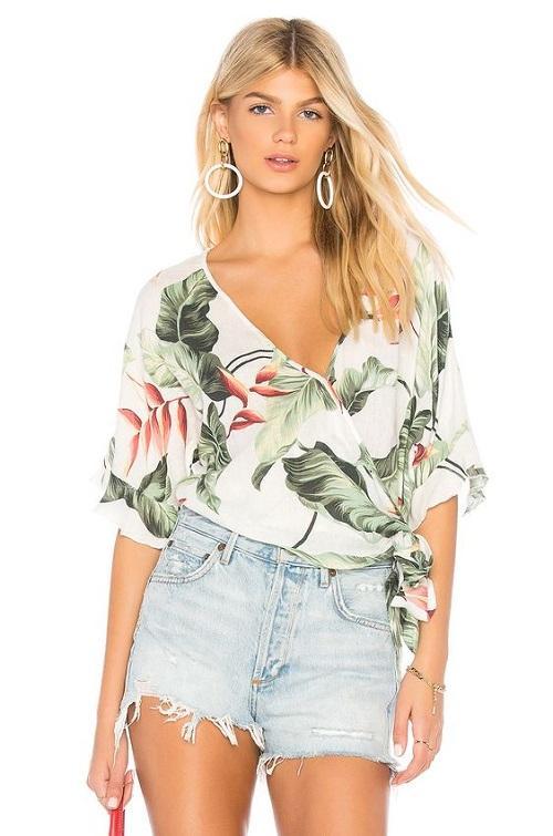Tropical Print Wrap Top