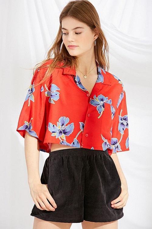 Tropical Print Cropped Button-Down Shirt