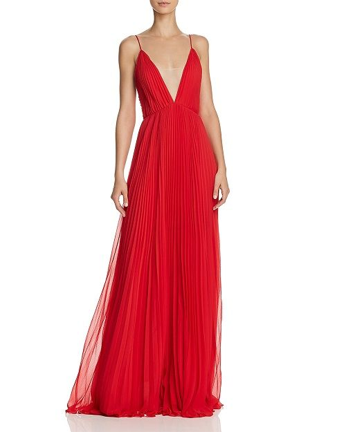 Pleated Deep-v Gown