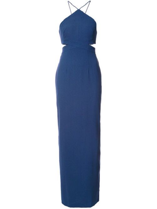 Straight-fit Blue Colored Cut Out Dress
