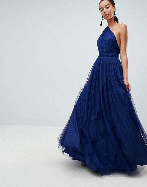 Tulle one shoulder colored wedding dress