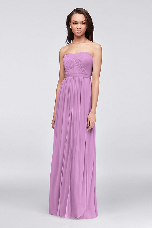 Strapless Lilac Colored Wedding Dress