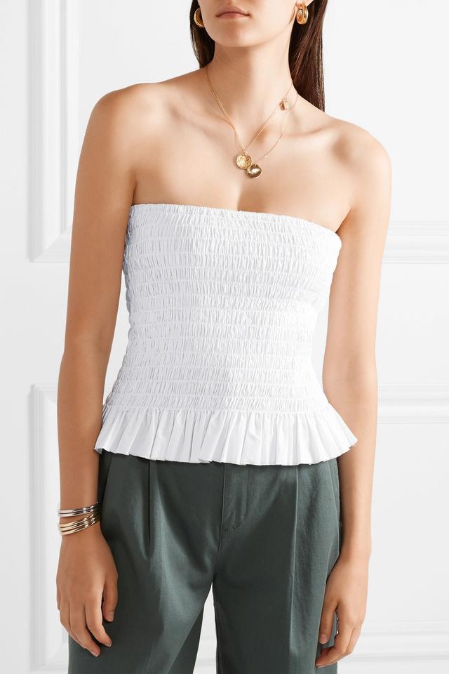 ATM Shirred Cotton-Poplin Bustier Top