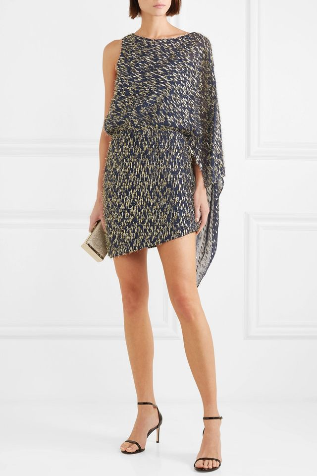 Haney Lucia One-Shoulder Asymmetric Mini Dress
