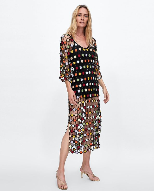 Zara Multicolored Crochet Dress
