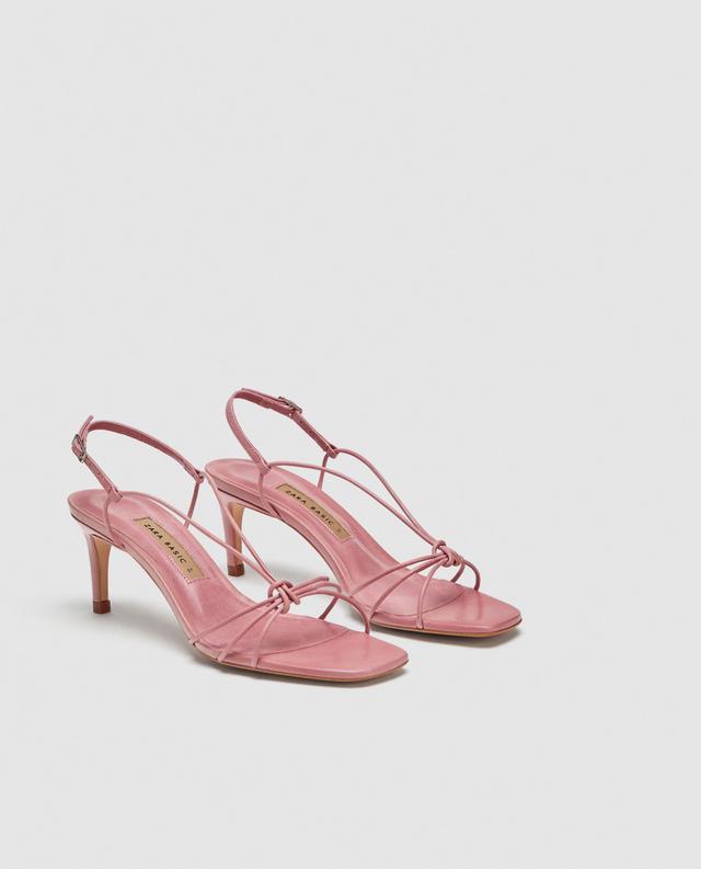Zara Leather High-Heel Sandals