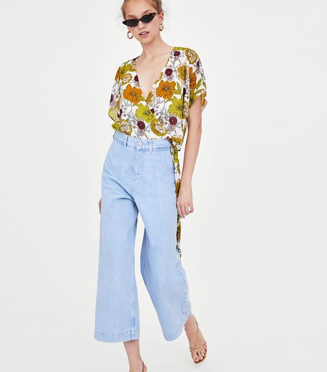 Zara Authentic Denim Wide-Leg Hi-Rise Culotte Jeans