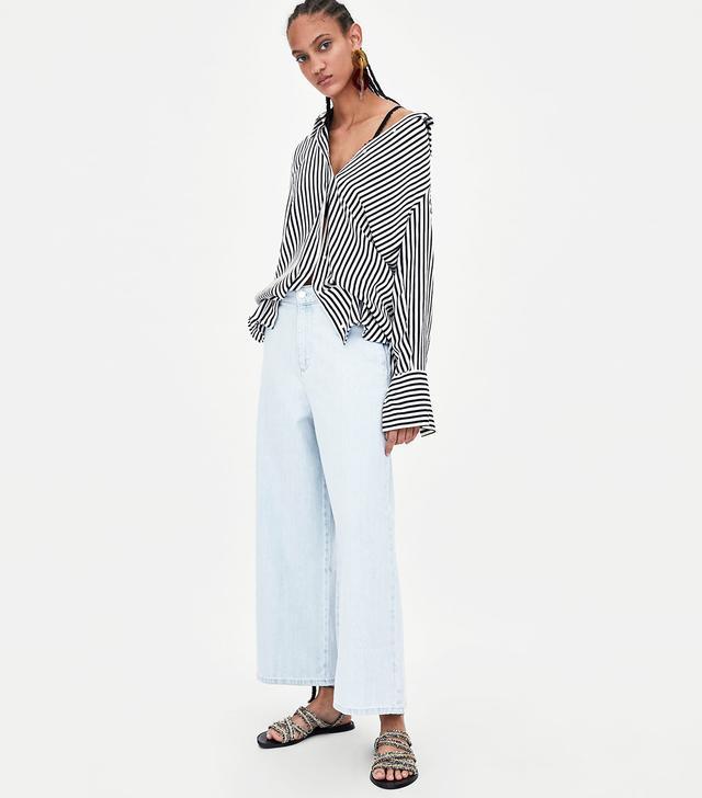 Zara Cropped Wide-Leg Jeans