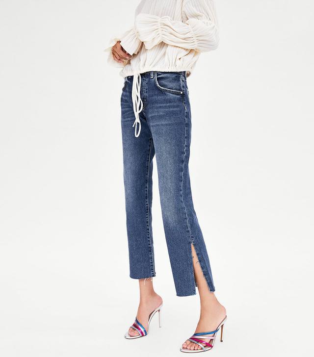 Zara Straight-Leg Hi-Rise Jeans With Slits