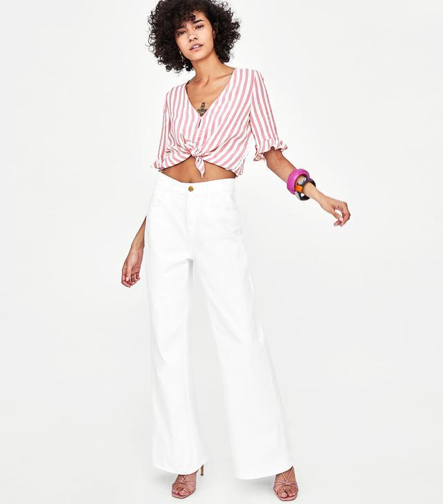 Zara Hi-Rise Flared Authentic Denim Jeans