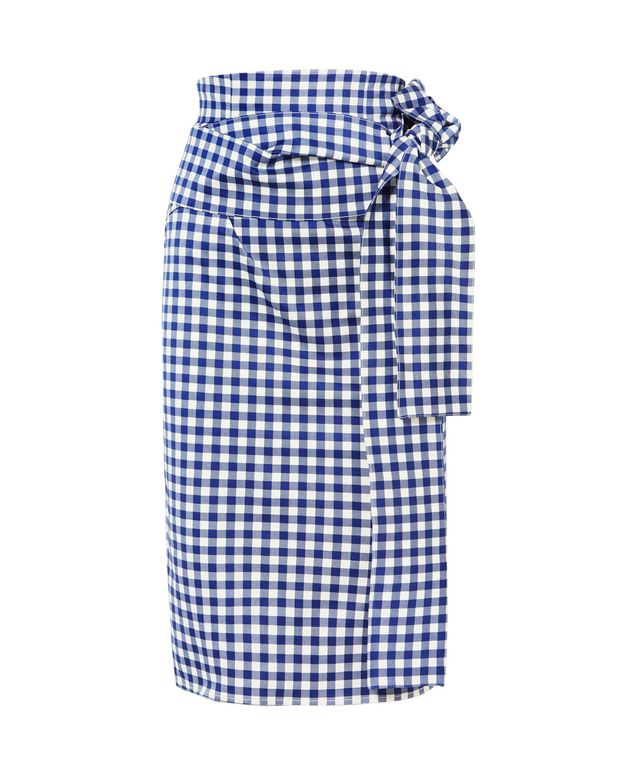 Saturnio Belted Gingham Cotton-blend Pencil Skirt