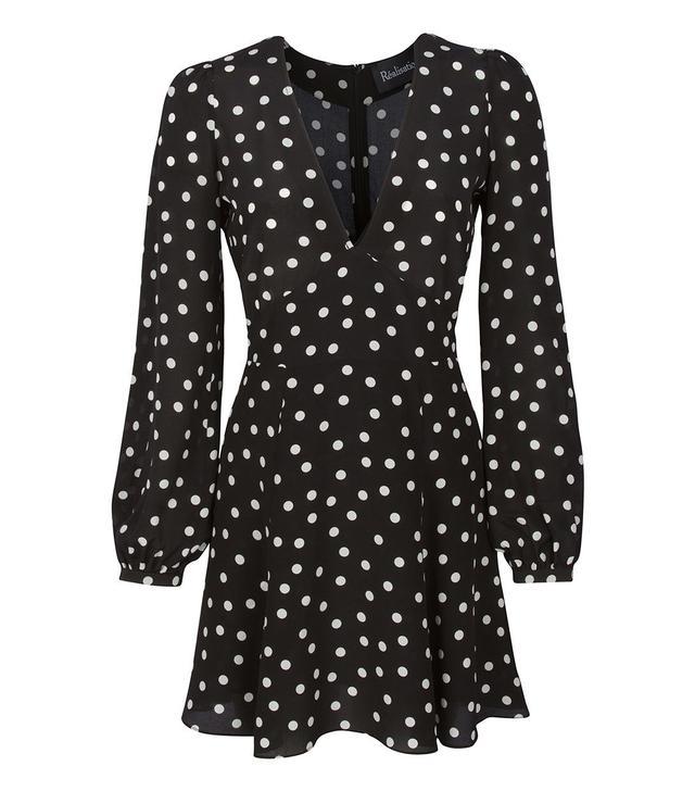Réalisation Par The Kate Dress in Black & White Spot