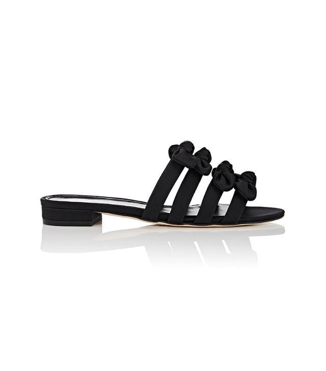 Women's Bow-Embellished Satin Slide Sandals