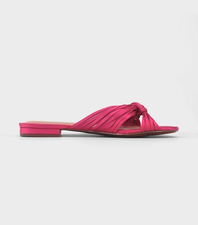 Grace Satin Knotted Slide Sandals