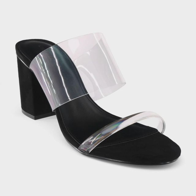 Rumor Translucent Heeled Slide Sandals