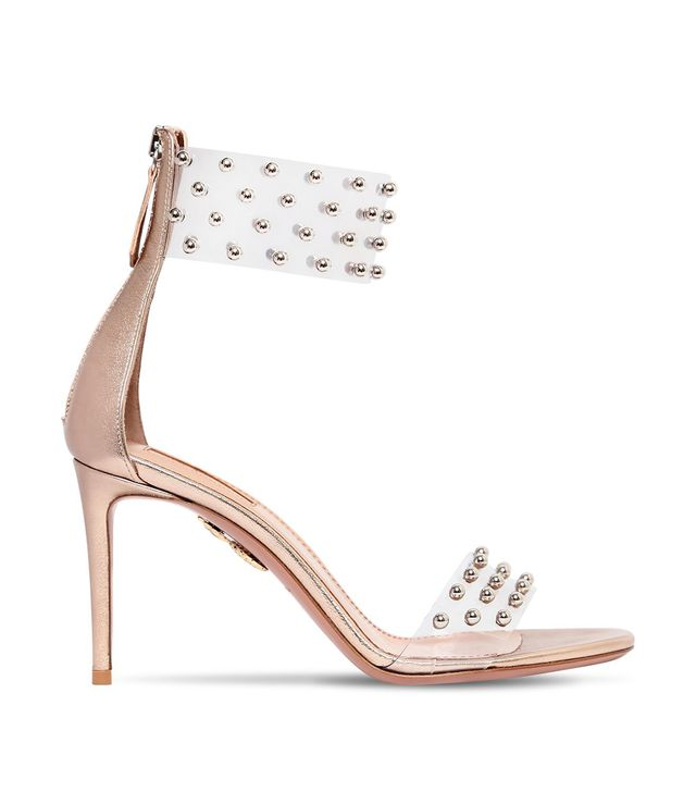 85MM ILLUSION STUDDED PLEXI SANDALS