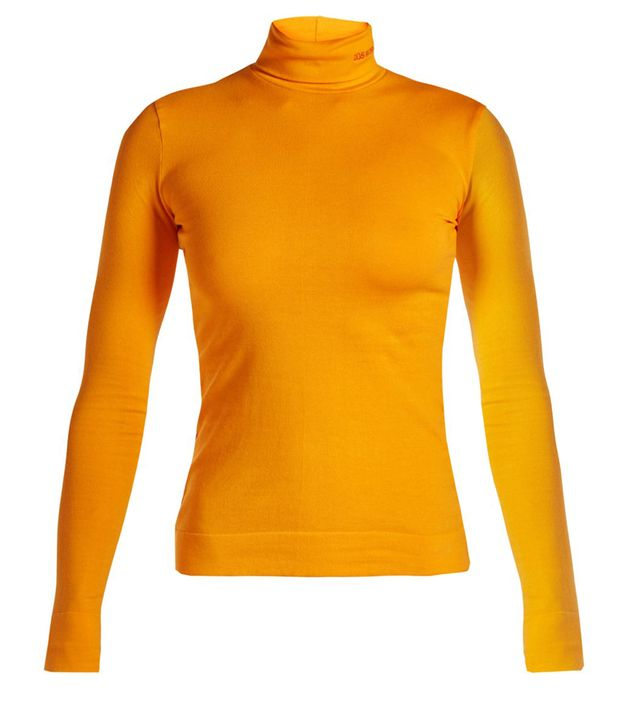 Logo-embroidered roll-neck jersey top