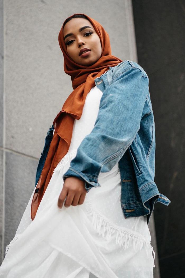 eid outfit ideas white dress denim jacket