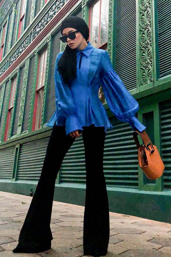 eid outfit ideas blue statement blouse black flares