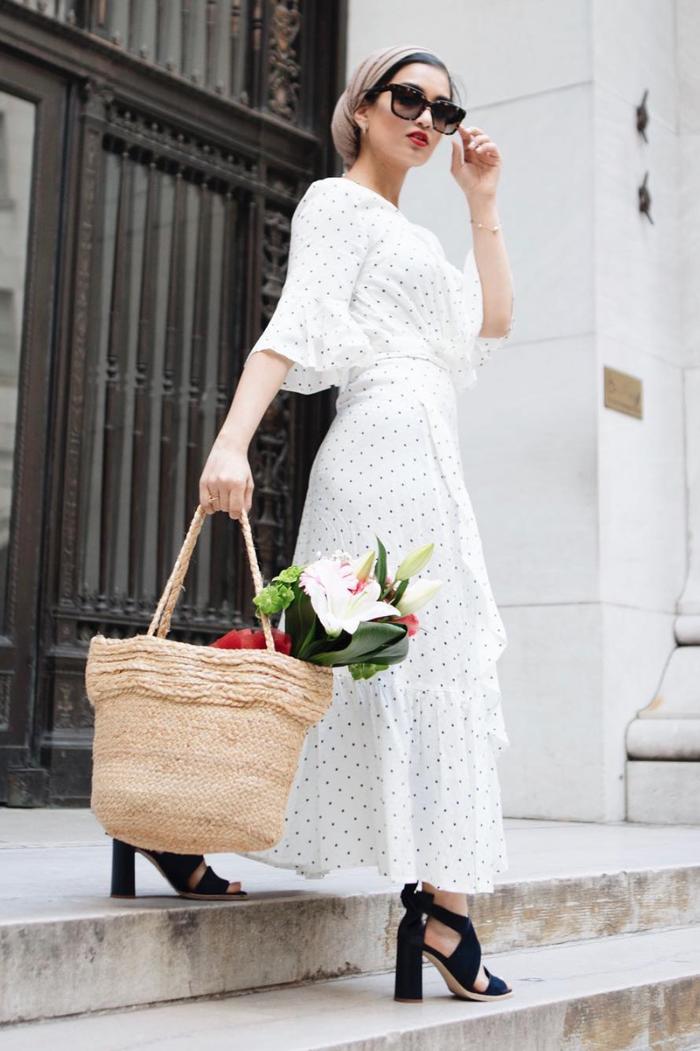 eid outfit ideas printed white wrap dress