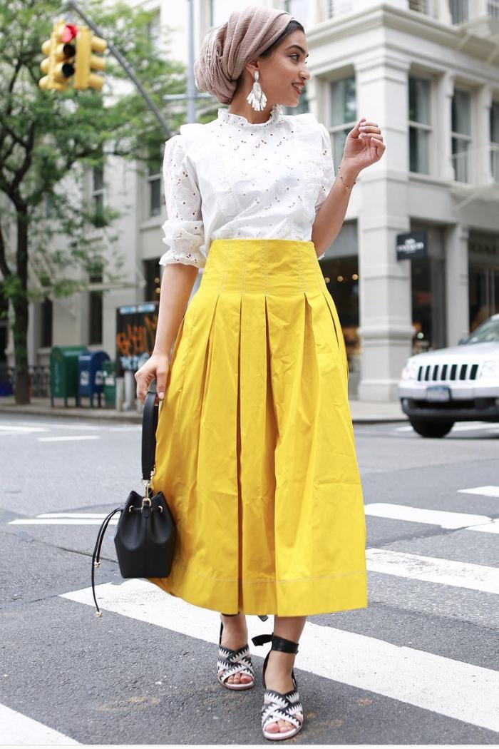 eid outfit ideas eyelet blouse yellow midi skirt