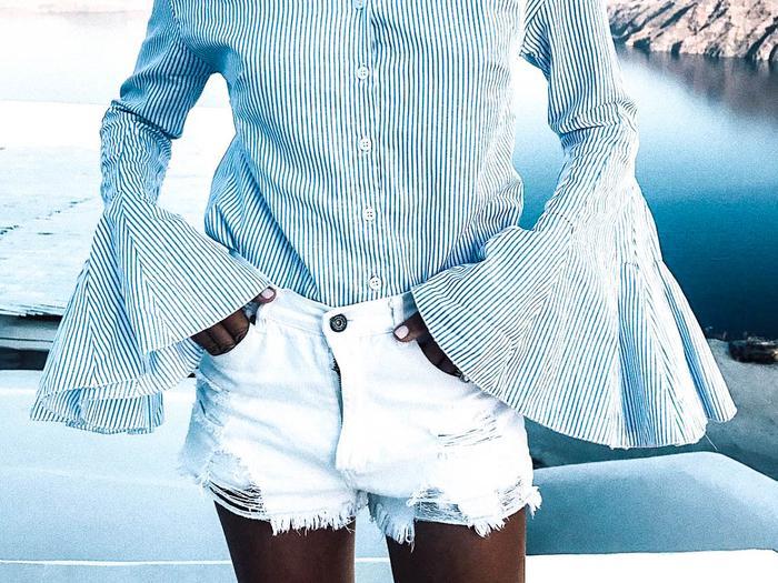 white denim shorts street style