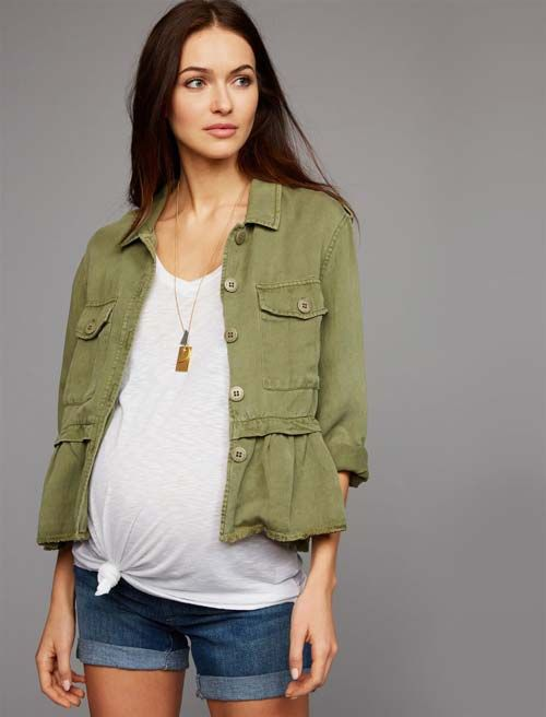 A Pea in the Pod Peplum Cotton Woven Maternity Jacket