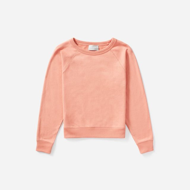 Women's Lightweight French Terry Crew Sweater by Everlane in Light Coral, Size XL