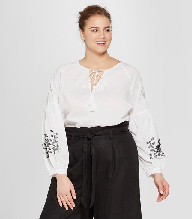 Plus Size Striped Long Sleeve Embroidered Blouse
