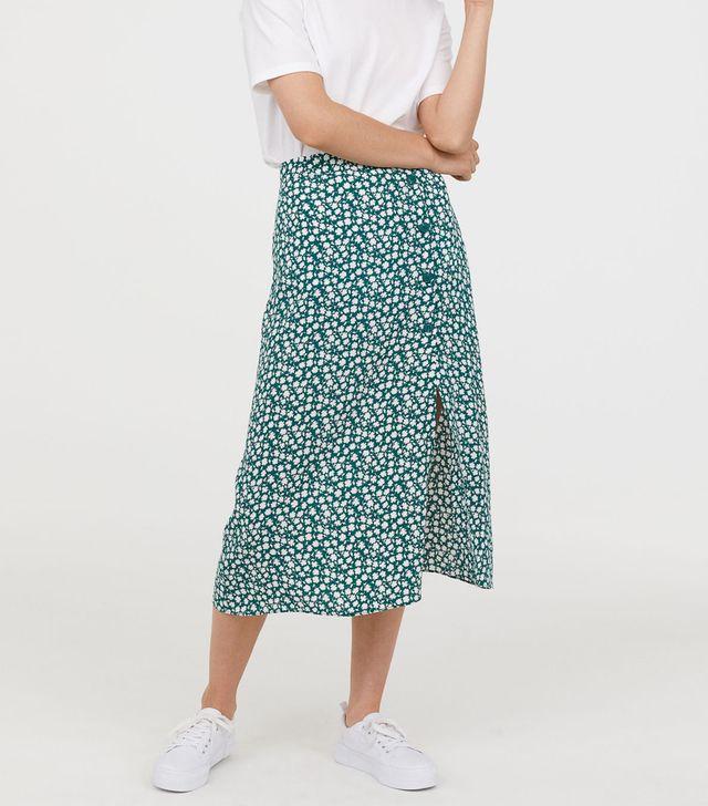 - Crêped Skirt - Green/white floral - Women