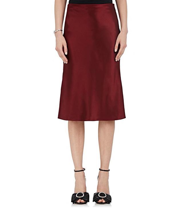Silk Satin Flared Pencil Skirt