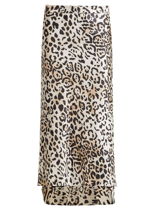 Bias Godet Leopard-Print Twill Slip Skirt