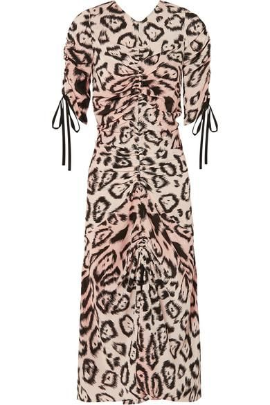 Animale Ruched Leopard-Print Silk Crepe de Chine Midi Dress