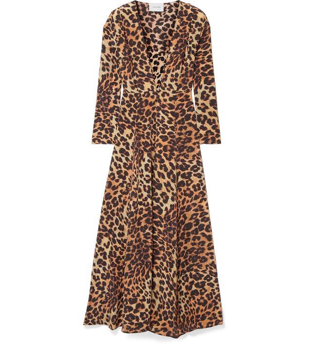 Leopard-Print Silk Crepe de Chine Robe