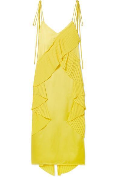 Pleated Ruffled Crepe and Satin Midi Dress